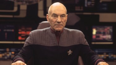Patrick Stewart as Captain Jean-Luc Picard in the <i>Star Trek: Nemesis</i> film.