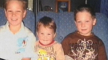 Jai, left, Bailey and Tyler Farquharson were killed when their father drove into a creek.