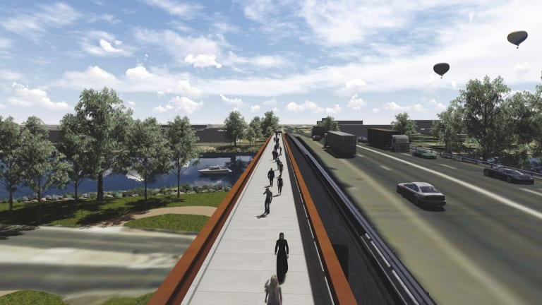 The first stage of the West Gate Distributor project includes Shepherd Bridge over the Maribyrnong River will be widened to six lanes and strengthened to improve traffic flow, increase capacity and reduce bottlenecks. Photo supplied