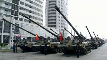 In this image made from video broadcast by North Korean broadcaster KRT, military tanks prepare for a parade at Kim Il-sung Square in Pyongyang on Saturday.