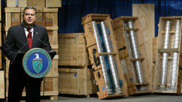 US energy secretary Spencer Abraham speaks about nuclear weapons and components brought from Libya to the Y-12 National Security Complex  in Oak Ridge, Tennessee, in March 2004.