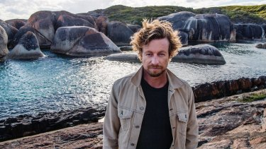 Simon Baker at one of the film's locations, Elephant Rocks, Denmark, WA.