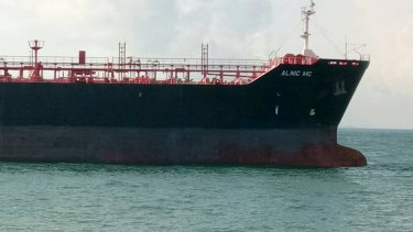 The oil and chemical tanker Alnic MC after a collision off Johor, Malaysia.
