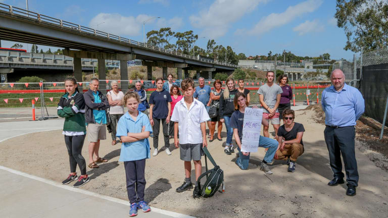 Teachers, students, parents and friends of Strathmore Secondary College campaign against a new bridge that will be twice as high as this one built on their school boundary.
