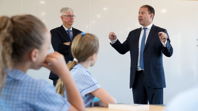 Environment and Energy Minister Josh Frydenberg addresses students about the benefits of renewable energy.