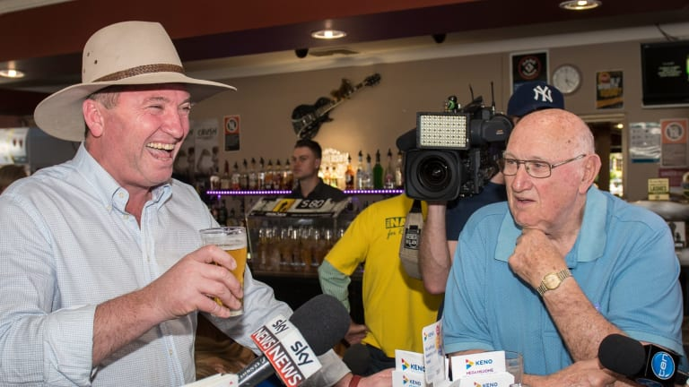 Barnaby Joyce at the Longyard Pub in Tamworth after the High Court ruled he was invalidly elected.