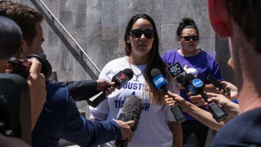 Tiahleigh's biological mother Cindy Palmer speaks to media outside Beenleigh Magistrates Court on Monday.