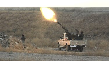 Islamic State fighters fire at Syrian regime planes in June of this year.