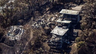 Fire damage to property seen from the air at Wye River on December 27.