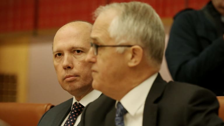Prime Minister Malcolm Turnbull with Immigration Minister Peter Dutton.