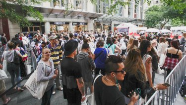 The crowd gathered for the opening of H&M's flagship CBD store in Pitt Street Mall had started before dawn.