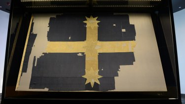 The original Eureka Flag now on display in Ballarat.