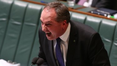 """Barnaby Joyce during his tirade against """"the rabbit of our waterways""""."""