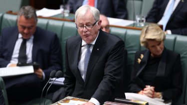 Trade minister Andrew Robb addresses House on Monday.