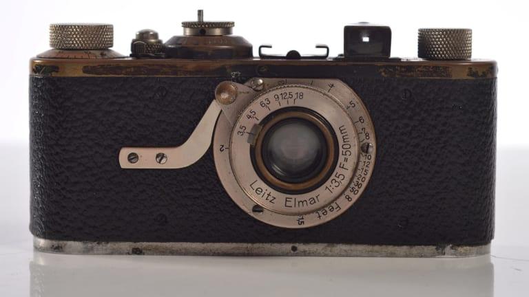 A Leica with an Elmar 3.2 lens made in 1929. Estimates: $1000-$2000.