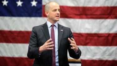 Independent candidate Evan McMullin speaks during a rally  in Draper, Utah on Friday.