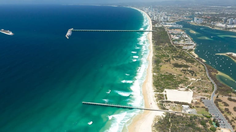The Oceanside Cruise Ship Terminal proposals: one option proposes extending the rock seawall, the second option is using the  sand pumping jetty (middle) and the third, building an 800 metre jetty offshore, south of Sea World.