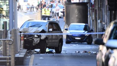 The car that plowed through pedestrians at the Elizabeth and Flinders street intersection.