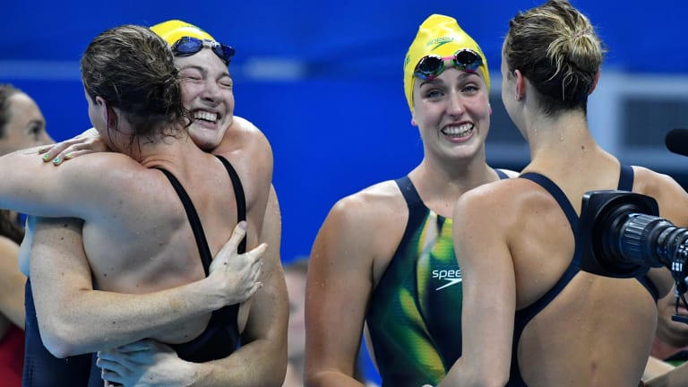 Champions: Australia's 4x100m freestyle relay gold medal winners after their world record swim.