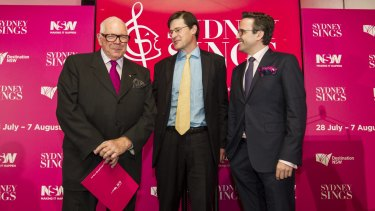 High note: Leo Schofield with member for Davidson, Jonathan O'Dea, and Jarrod Carland, at the launch of Sydney Sings.