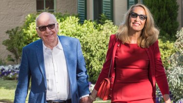 Rupert Murdoch and Jerry Hall leave Kirribilli House as Malcolm Turnbull hosts a reception for big business on Saturday,