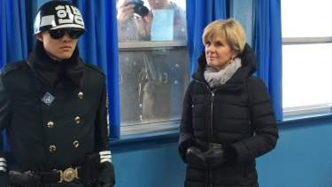 North Korean soldiers photograph Foreign Affairs Minister Julie Bishop during a trip to the demilitarised zone in South Korea in February.