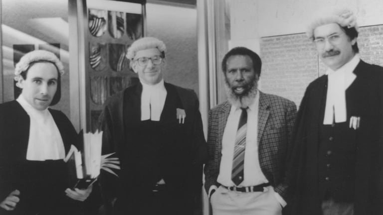 The Mabo case legal team: solicitor Greg McIntyre, barrister Ron Castan, Eddie Mabo and barrister Bryan Keon-Cohen at the High Court of Australia 1991.
