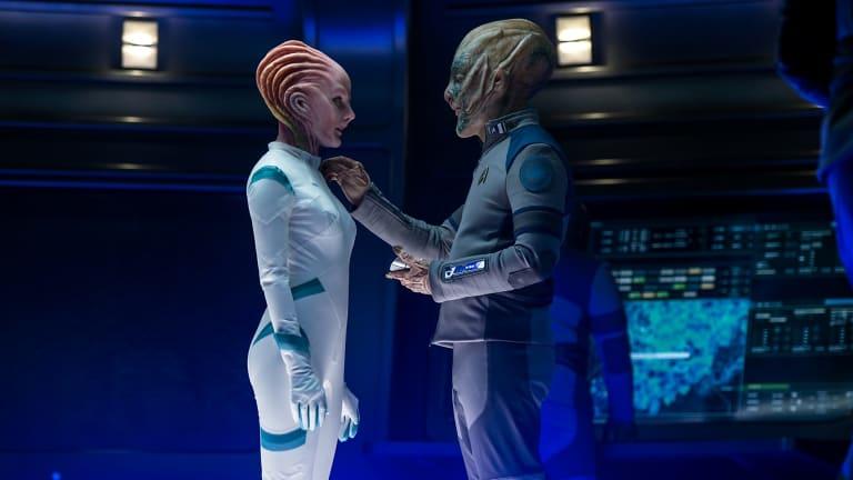 Jeff Bezos, right, as a Starfleet Official in <i>Star Trek Beyond</i>, with Lydia Wilson as Kalara.