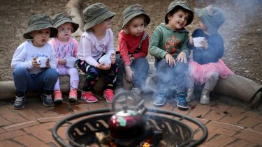 Benji, Rose, Eden, Bowie, Theo and Vivienne. New research shows exposing toddlers to risky play such as access to open flames and genuine tools during early learning increases their safety awareness and promotes risk aversion.