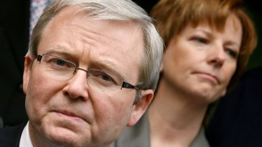 Kevin Rudd and Julia Gillard in 2006 before each became prime minister. Rudd held the office twice.