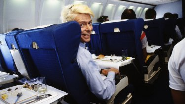 David Bowie over Australia 1983, on a schedule flight rather than private jet.