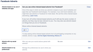 Facebook Adverts lets you turn interest-based advertising on or off across all devices.