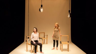 Sarah Hamilton and Justine Campbell in Malthouse Theatre's <i>They Saw A Thylacine</i>.