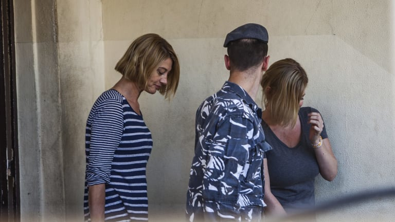 Tara Brown, left, and Australian mother Sally Faulkner, right, leave a women's prison in the Beirut southeastern suburb of Baabda in April.