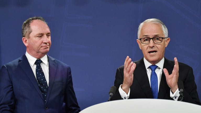 Deputy Prime Minister Barnaby Joyce and Prime Minister Malcolm Turnbull at the Wednesday announcement about gas prices.