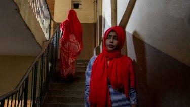 Hanan Ibrahim and other Somali woman are wearing red headscarves to show solidarity with the victims of the October 14 attack.