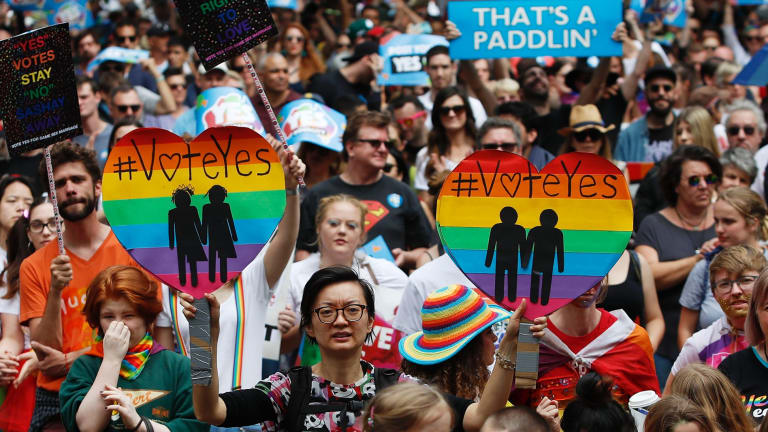 Supporters of marriage equality march in Sydney.