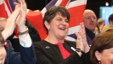 Democratic Unionist Party Leader Arlene Foster celebrates on election night.