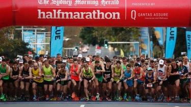 Elite runners at the start line of the Sydney Morning Herald Half Marathon.