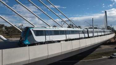A new Metro train is tested at Tallawong Station. The government has promised $3.5 billion for the Western Sydney North-South Rail link.