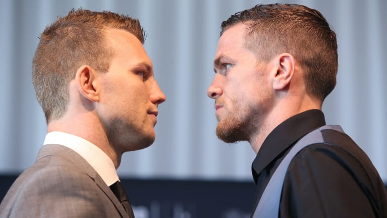 It's on: Jeff Horn and Gary Corcoran square up.
