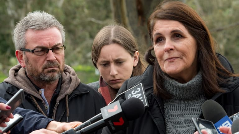 Karen Ristevski's aunt Patricia Gray (right) with Karen's husband Borce and daughter Sarah on July 14, 2016.