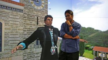 Jay Jay Jegathesan with his avatar in front of the virtual UWA clock tower.