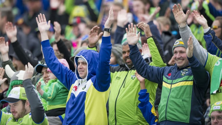 Raiders fans do the Viking clap during last Sunday's match against the Eels.