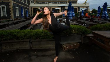 Emily Casey says beer yoga is about 'having fun and having an open mind'.