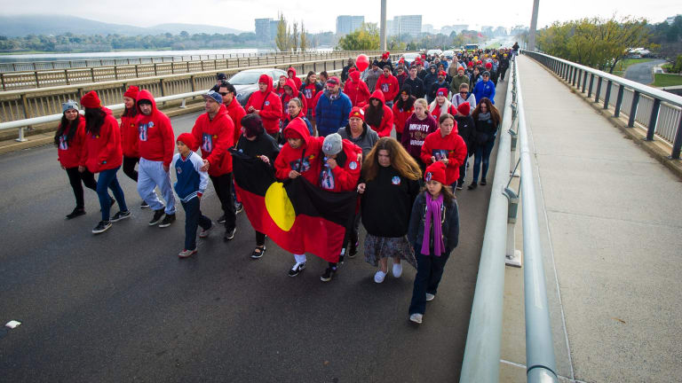 Steven Freeman's family led the National Sorry Day walk during Reconciliation Week in 2017.