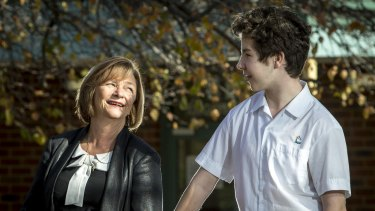 Mill Park Secondary College principal Trish Horner with  year 8 student Keaton.