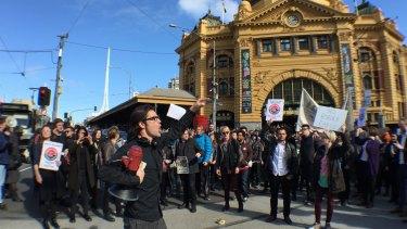 Demonstrators protest against Border Force