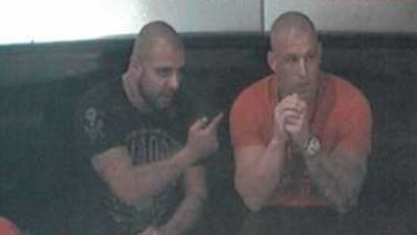 CCTV footage shows Farhad Qaumi, left, and Pasquale Barbaro at The Star casino in January 2014.