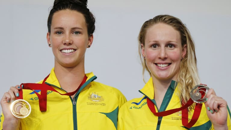 McKeon and Bronte Barratt after the medal ceremony for the 200m freestyle.